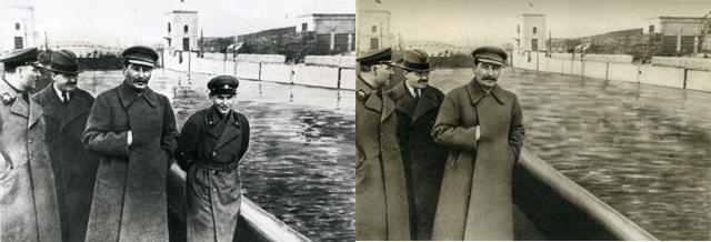 Unidentified Russian artist. Left: Kliment Voroshilov, Vyacheslav Molotov, Joseph Stalin, and Nikolay Yezhov on the Moscow-Volga Canal, Moscow, 1937; printed later. Right: Kliment Voroshilov, Vyacheslav Molotov, and Joseph Stalin on the Moscow-Volga Canal, Moscow, 1937; David King Collection, London