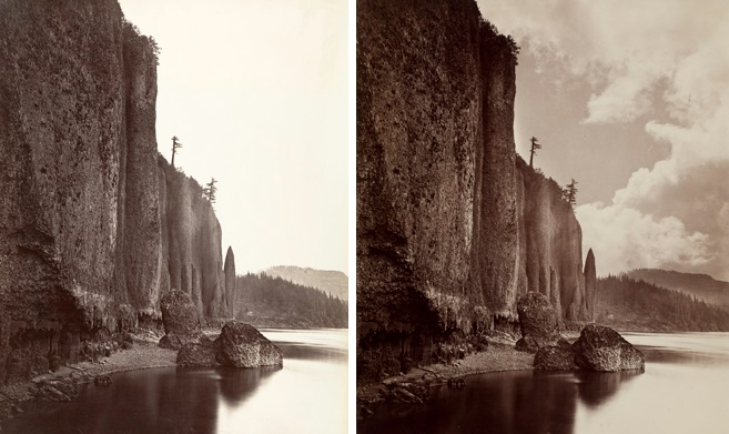 Carleton E. Watkins (American, 1829–1916). Left: Cape Horn, Columbia River, Oregon, 1867. The Metropolitan Museum of Art, New York, Gilman Collection, Gift of The Howard Gilman Foundation, 2005 (2005.100.493). Right: Cape Horn, Columbia River, Oregon, 1867; printed 1880–90. George Eastman House, International Museum of Photography and Film, Rochester