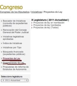 Congreso. Proyectos de ley.