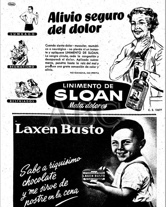 ©ABC. 8 de Diciembre de 1951. Anuncios de linimento Sloan y de Laxen Busto.