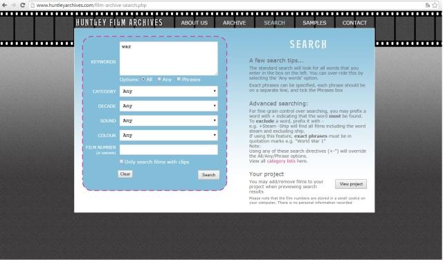Interfaz de búsqueda de Huntley Film Archives