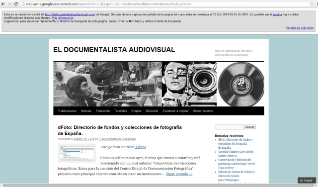 Cache de El Documentalista Audiovisual