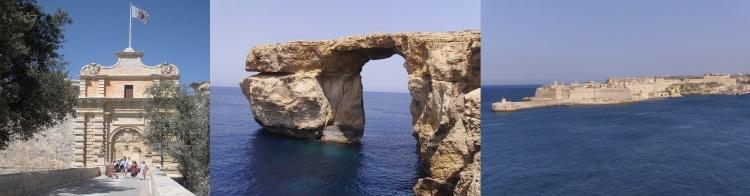 De izquierda a derecha: Mdina es la entrada a la Fortaleza Roja, Azure Window en Gozo forma parte de la ciudad libre de Pentos y la fortaleza Ricasoli es el puerto de Desembarco del Rey. @IsabelBorruel