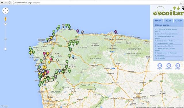 Mapa online de sonidos. ©Escoitar
