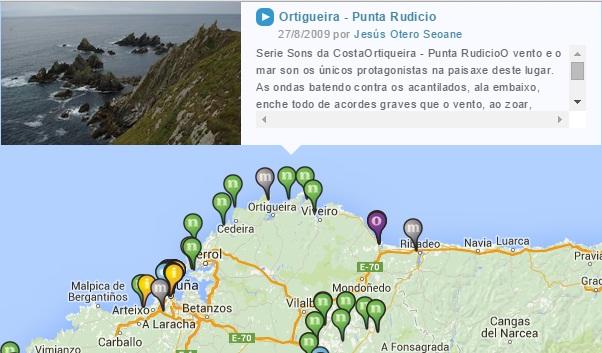 Detalle mapa online de sonidos. ©Escoitar