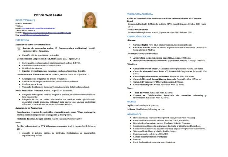 CV Patricia Wert. Ordenación funcional.